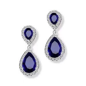 Esme Blue Crystal Drop Earrings